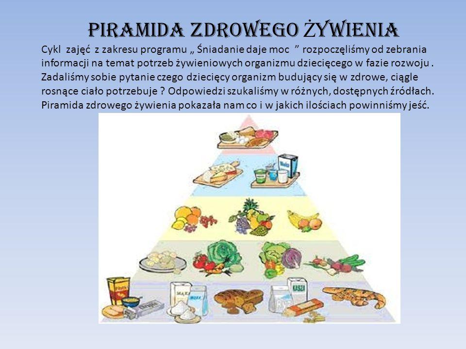 """Piramida zdrowego Ż ywienia Cykl zajęć z zakresu programu """" Śniadanie daje moc """" rozpoczęliśmy od zebrania informacji na temat potrzeb żywieniowych or"""