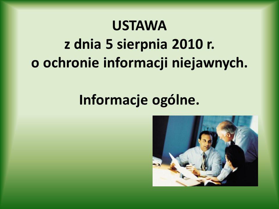 USTAWA z dnia 5 sierpnia 2010 r. o ochronie informacji niejawnych. Informacje ogólne.