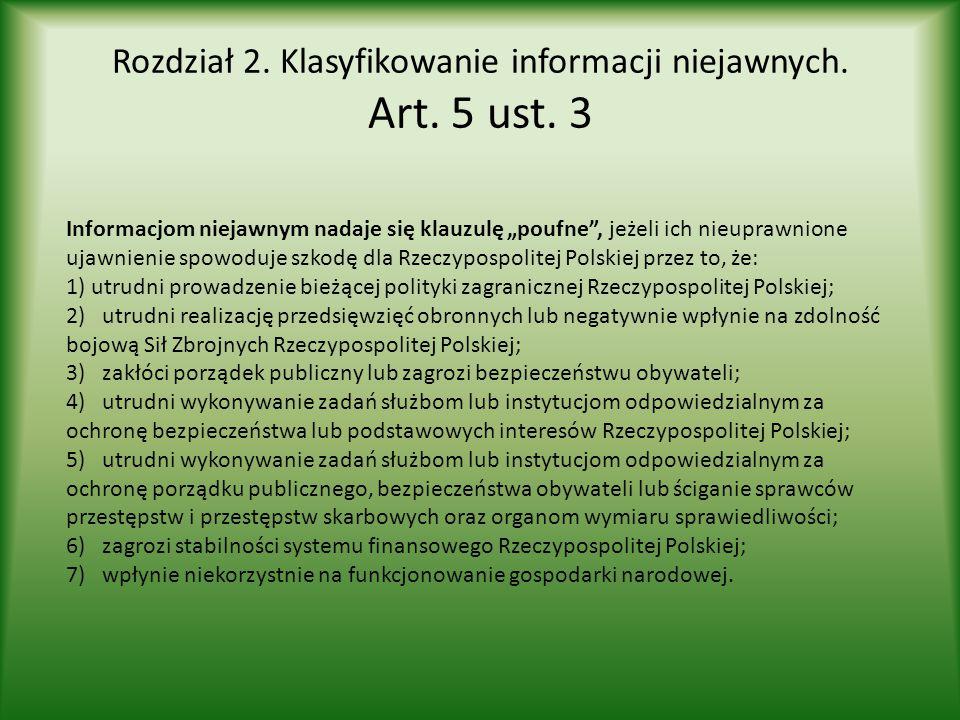 """Rozdział 2. Klasyfikowanie informacji niejawnych. Art. 5 ust. 3 Informacjom niejawnym nadaje się klauzulę """"poufne"""", jeżeli ich nieuprawnione ujawnieni"""