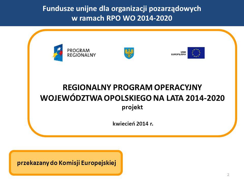 2 Fundusze unijne dla organizacji pozarządowych w ramach RPO WO 2014-2020 REGIONALNY PROGRAM OPERACYJNY WOJEWÓDZTWA OPOLSKIEGO NA LATA 2014-2020 projekt kwiecień 2014 r.