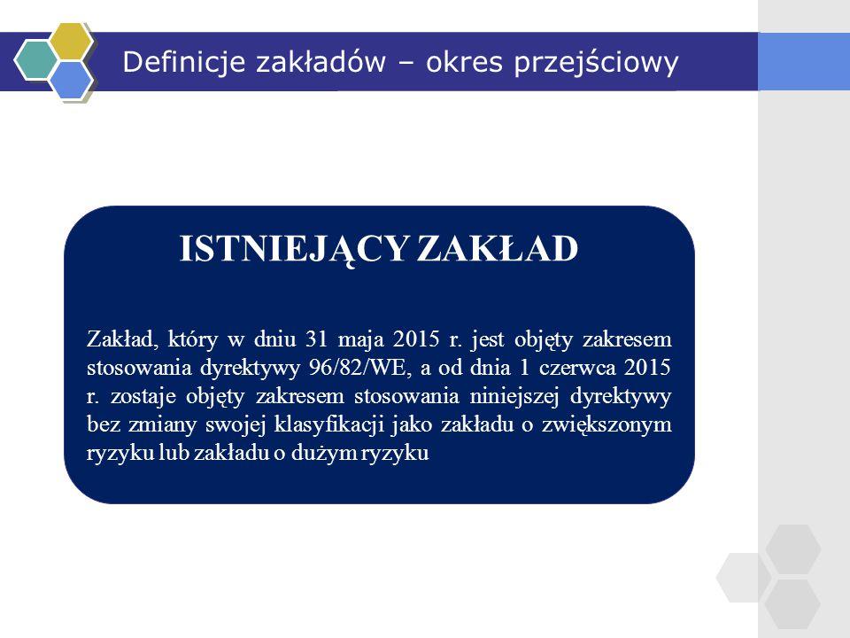 ISTNIEJĄCY ZAKŁAD Zakład, który w dniu 31 maja 2015 r. jest objęty zakresem stosowania dyrektywy 96/82/WE, a od dnia 1 czerwca 2015 r. zostaje objęty