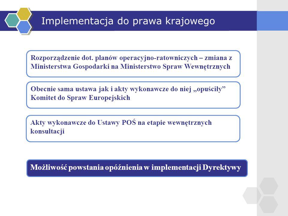 Implementacja do prawa krajowego Rozporządzenie dot. planów operacyjno-ratowniczych – zmiana z Ministerstwa Gospodarki na Ministerstwo Spraw Wewnętrzn