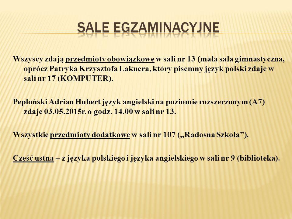 Wszyscy zdają przedmioty obowiązkowe w sali nr 13 (mała sala gimnastyczna, oprócz Patryka Krzysztofa Laknera, który pisemny język polski zdaje w sali nr 17 (KOMPUTER).