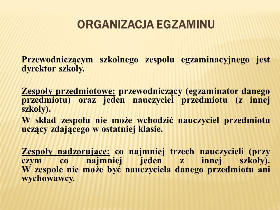 ORGANIZACJA EGZAMINU Przewodniczącym szkolnego zespołu egzaminacyjnego jest dyrektor szkoły. Zespoły przedmiotowe: przewodniczący (egzaminator danego