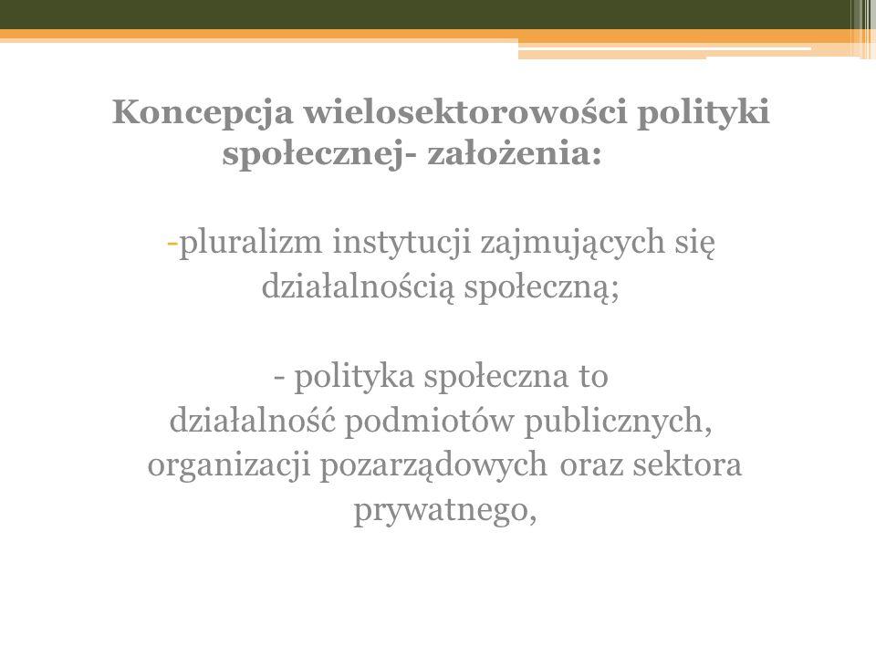 Koncepcja wielosektorowości polityki społecznej- założenia: -pluralizm instytucji zajmujących się działalnością społeczną; - polityka społeczna to działalność podmiotów publicznych, organizacji pozarządowych oraz sektora prywatnego,