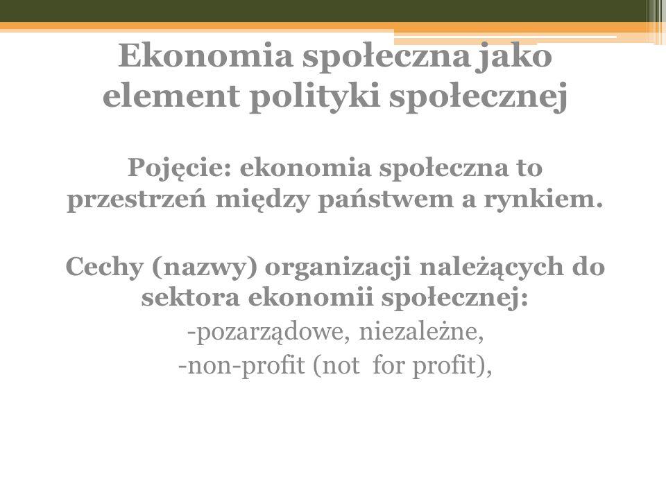 Ekonomia społeczna jako element polityki społecznej Pojęcie: ekonomia społeczna to przestrzeń między państwem a rynkiem. Cechy (nazwy) organizacji nal