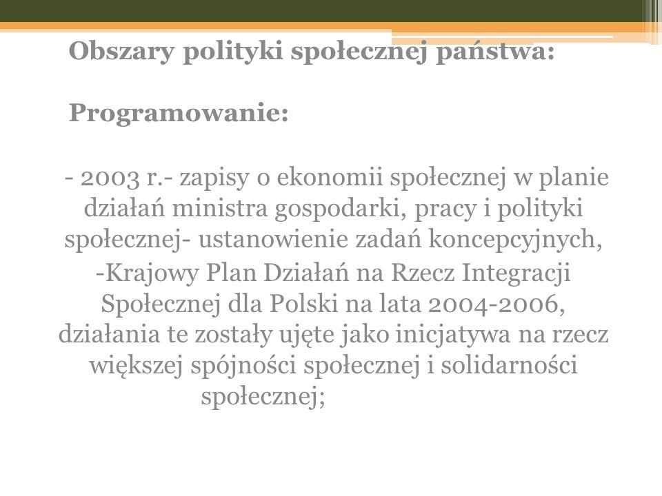 Obszary polityki społecznej państwa: Programowanie: - 2003 r.- zapisy o ekonomii społecznej w planie działań ministra gospodarki, pracy i polityki społecznej- ustanowienie zadań koncepcyjnych, -Krajowy Plan Działań na Rzecz Integracji Społecznej dla Polski na lata 2004-2006, działania te zostały ujęte jako inicjatywa na rzecz większej spójności społecznej i solidarności społecznej;