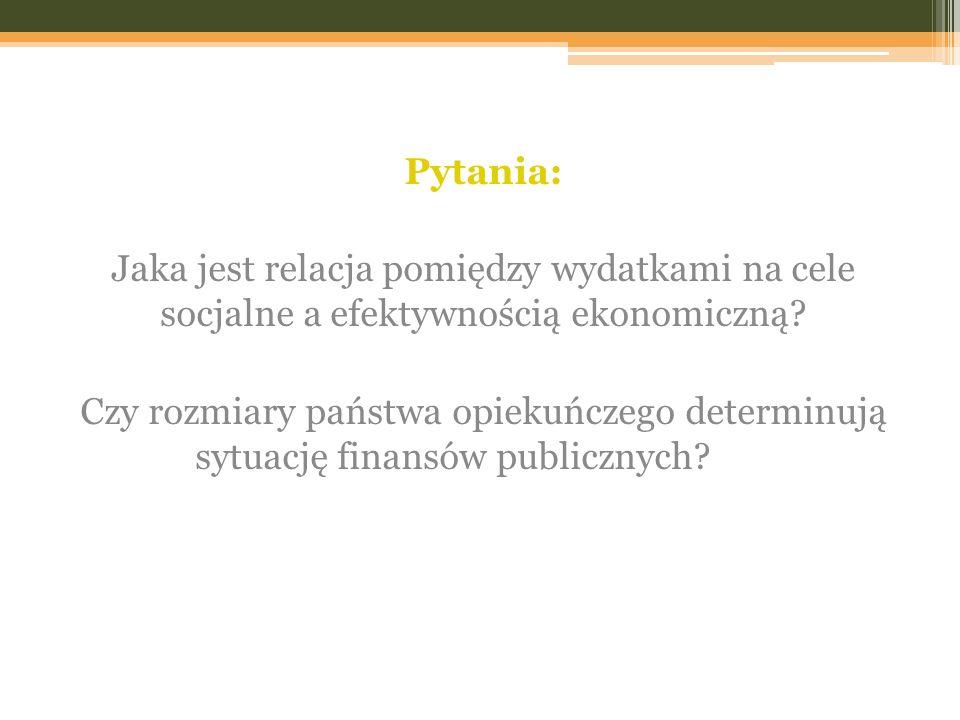 Pytania: Jaka jest relacja pomiędzy wydatkami na cele socjalne a efektywnością ekonomiczną? Czy rozmiary państwa opiekuńczego determinują sytuację fin