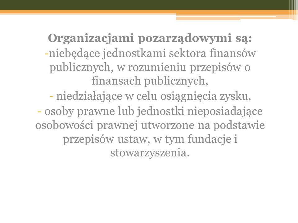 Organizacjami pozarządowymi są: -niebędące jednostkami sektora finansów publicznych, w rozumieniu przepisów o finansach publicznych, - niedziałające w celu osiągnięcia zysku, - osoby prawne lub jednostki nieposiadające osobowości prawnej utworzone na podstawie przepisów ustaw, w tym fundacje i stowarzyszenia.