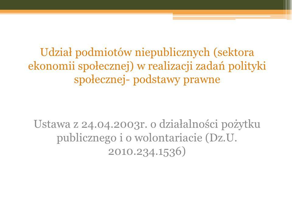 Udział podmiotów niepublicznych (sektora ekonomii społecznej) w realizacji zadań polityki społecznej- podstawy prawne Ustawa z 24.04.2003r. o działaln