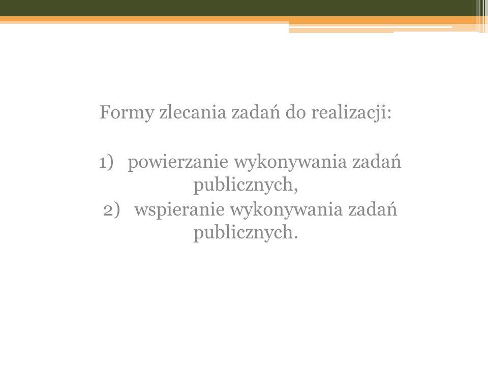 Formy zlecania zadań do realizacji: 1) powierzanie wykonywania zadań publicznych, 2) wspieranie wykonywania zadań publicznych.