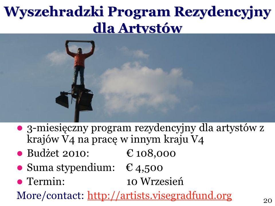 3-miesięczny program rezydencyjny dla artystów z krajów V4 na pracę w innym kraju V4 Budżet 2010: € 108,000 Suma stypendium: € 4,500 Termin: 10 Wrzesi