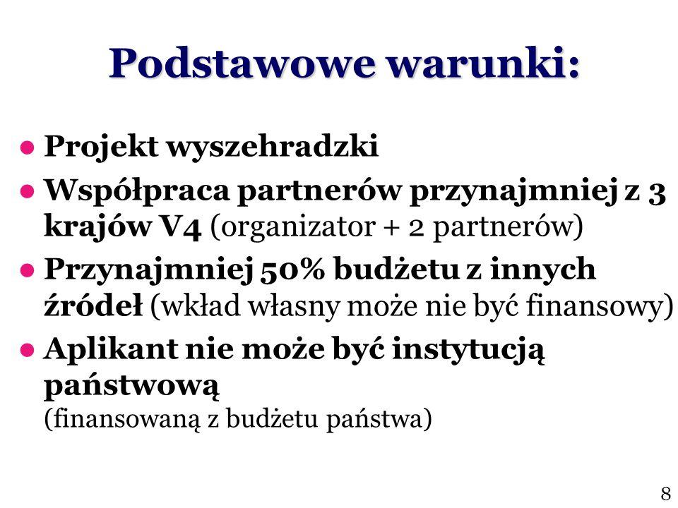 Budżet 2010:€100,000 Termin: 10 Listopad Grant na rozwinięcie lub utworzenie uniwersyteckich studiów lub programów dotyczących Grupy Wyszehradzkiej Jednorazowe wsparcie (€15,000/program, €50,000/studia) More/contact: www.visegradfund.org/curriculum.html www.visegradfund.org/curriculum.html Grant na Wyszehradzkie Studia Uniwersyteckie 19