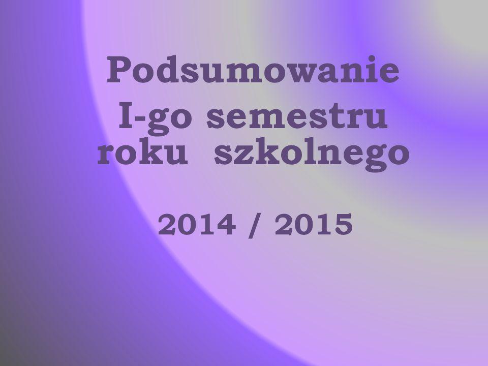 2014 / 2015 Podsumowanie I-go semestru roku szkolnego