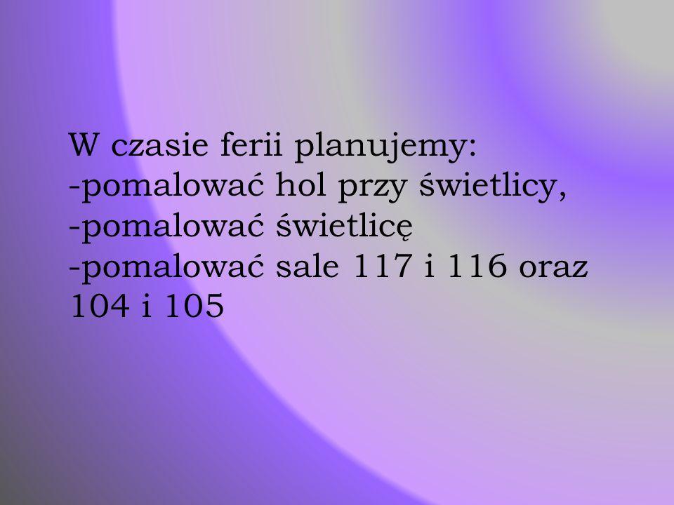 W czasie ferii planujemy: -pomalować hol przy świetlicy, -pomalować świetlicę -pomalować sale 117 i 116 oraz 104 i 105