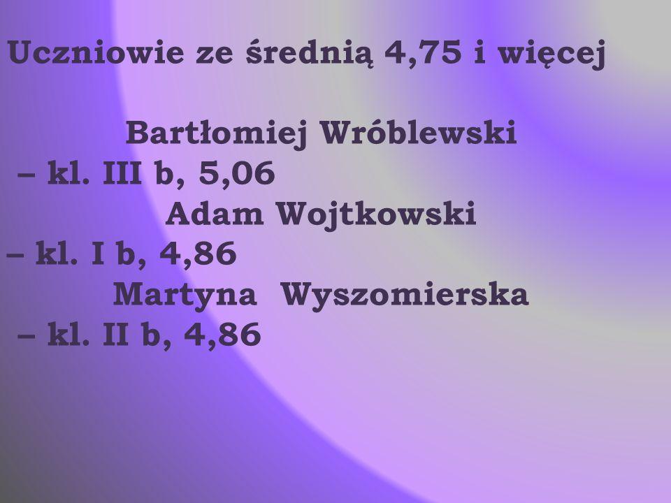 Uczniowie ze średnią 4,75 i więcej Bartłomiej Wróblewski – kl. III b, 5,06 Adam Wojtkowski – kl. I b, 4,86 Martyna Wyszomierska – kl. II b, 4,86