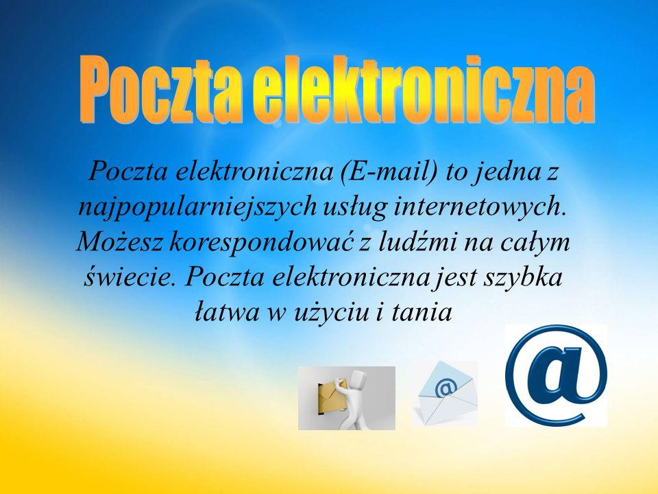 Poczta elektroniczna (E-mail) to jedna z najpopularniejszych usług internetowych.