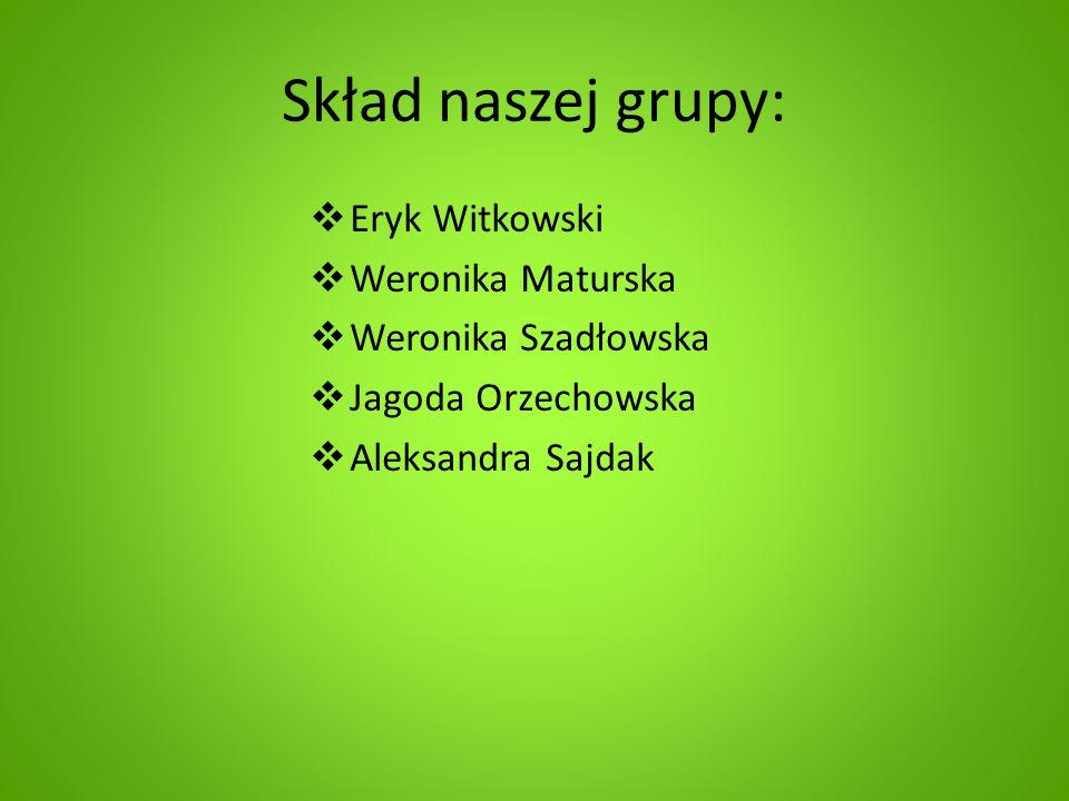 Skład naszej grupy:  Eryk Witkowski  Weronika Maturska  Weronika Szadłowska  Jagoda Orzechowska  Aleksandra Sajdak