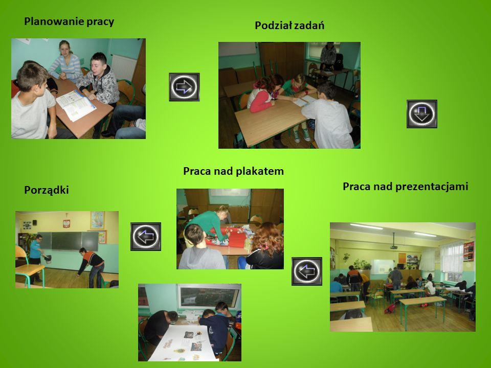 Planowanie pracy Podział zadań Praca nad plakatem Praca nad prezentacjami Porządki