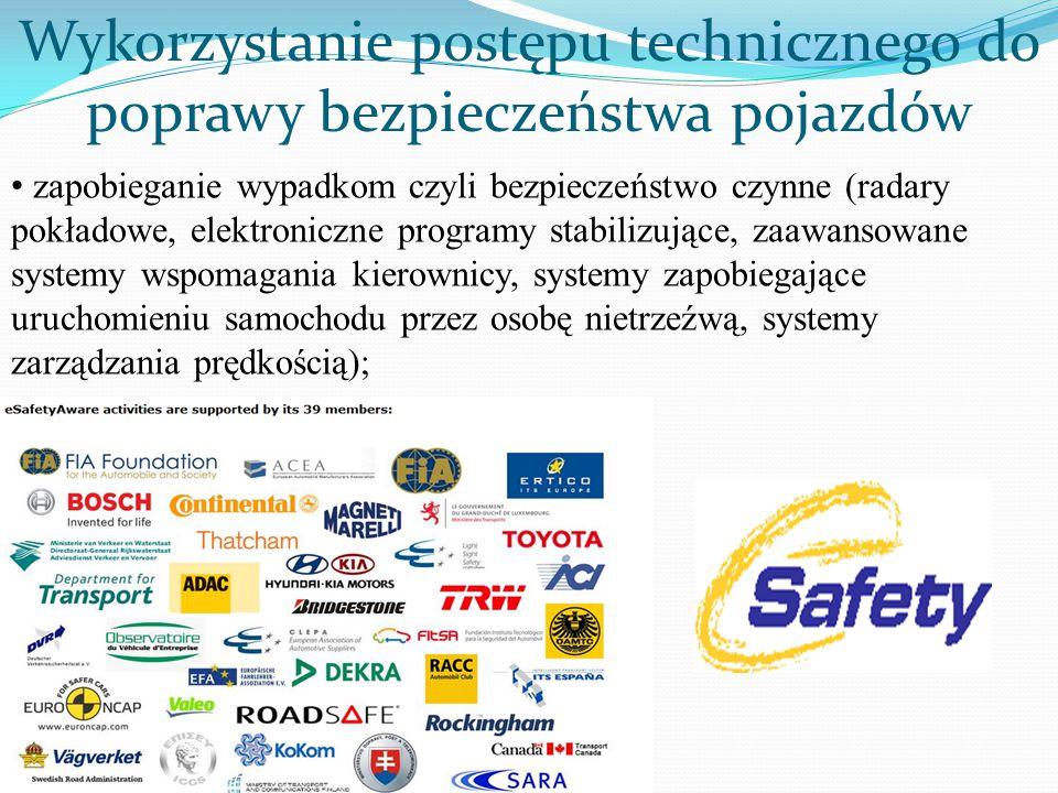 zapobieganie wypadkom czyli bezpieczeństwo czynne (radary pokładowe, elektroniczne programy stabilizujące, zaawansowane systemy wspomagania kierownicy