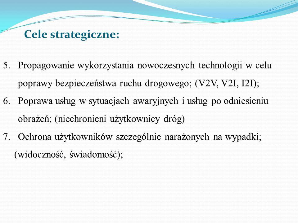 5.Propagowanie wykorzystania nowoczesnych technologii w celu poprawy bezpieczeństwa ruchu drogowego; (V2V, V2I, I2I); 6.Poprawa usług w sytuacjach awa