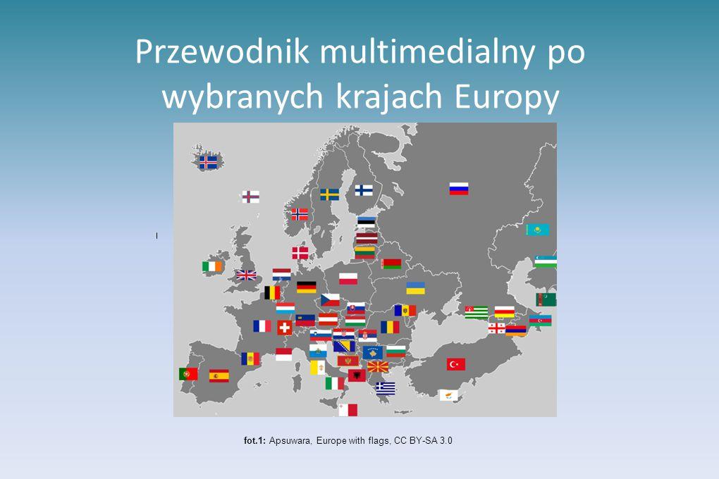 Przewodnik multimedialny po wybranych krajach Europy fot.1: Apsuwara, Europe with flags, CC BY-SA 3.0
