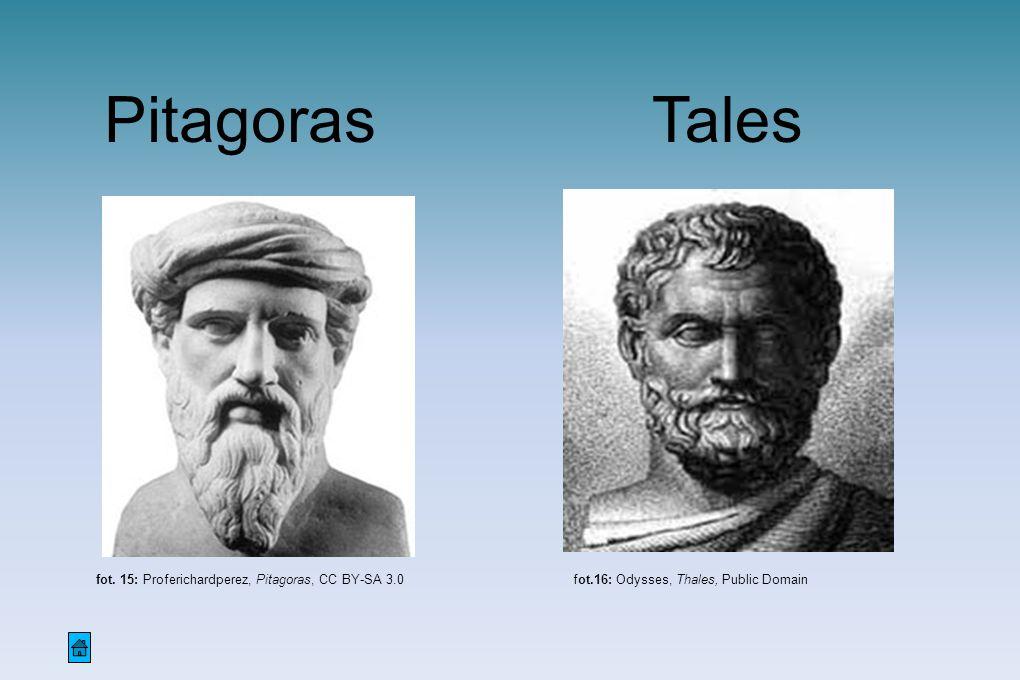 PitagorasTales fot. 15: Proferichardperez, Pitagoras, CC BY-SA 3.0fot.16: Odysses, Thales, Public Domain