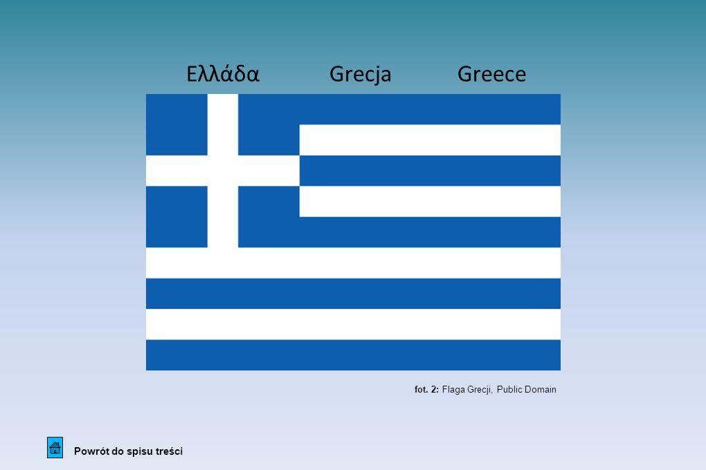Ελλάδα Grecja Greece Powrót do spisu treści fot. 2: Flaga Grecji, Public Domain