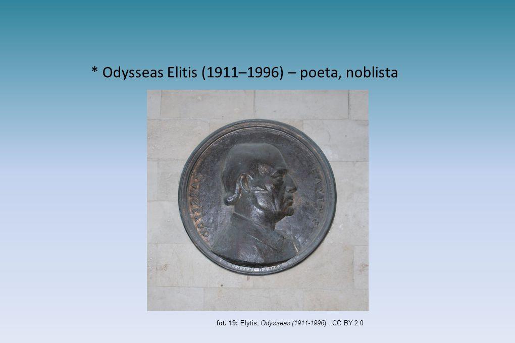* Odysseas Elitis (1911–1996) – poeta, noblista fot. 19: Elytis, Odysseas (1911-1996),CC BY 2.0
