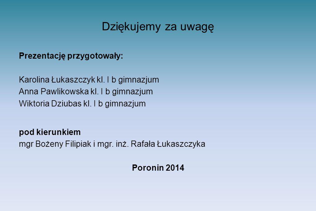 Dziękujemy za uwagę Prezentację przygotowały: Karolina Łukaszczyk kl.