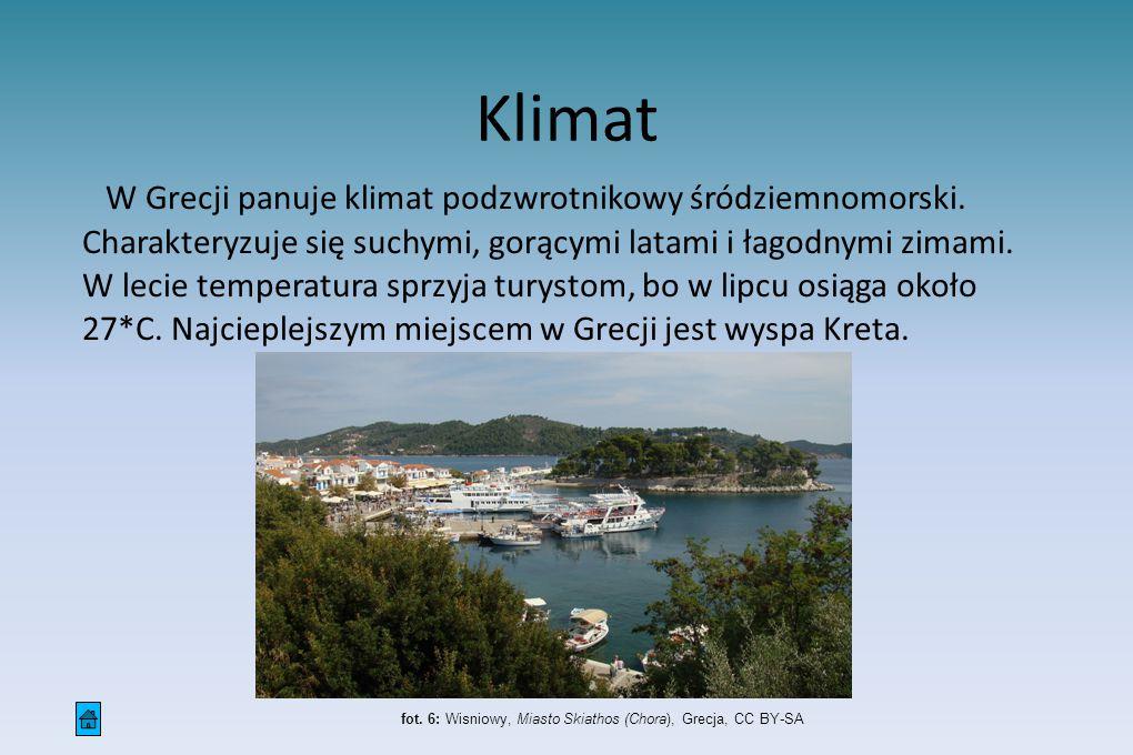Klimat W Grecji panuje klimat podzwrotnikowy śródziemnomorski. Charakteryzuje się suchymi, gorącymi latami i łagodnymi zimami. W lecie temperatura spr