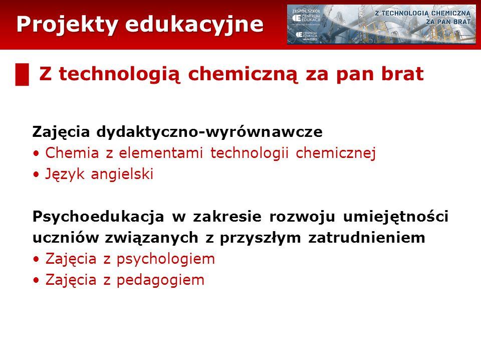 Projekty edukacyjne █ Z technologią chemiczną za pan brat Zajęcia dydaktyczno-wyrównawcze Chemia z elementami technologii chemicznej Język angielski P