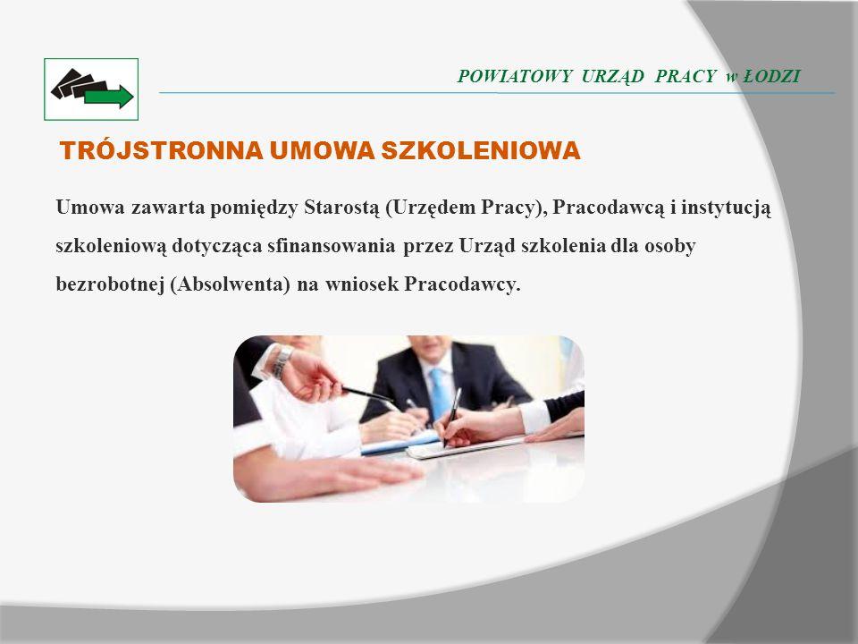 TRÓJSTRONNA UMOWA SZKOLENIOWA Umowa zawarta pomiędzy Starostą (Urzędem Pracy), Pracodawcą i instytucją szkoleniową dotycząca sfinansowania przez Urząd szkolenia dla osoby bezrobotnej (Absolwenta) na wniosek Pracodawcy.