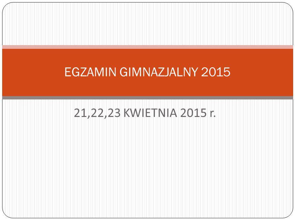 21,22,23 KWIETNIA 2015 r. EGZAMIN GIMNAZJALNY 2015