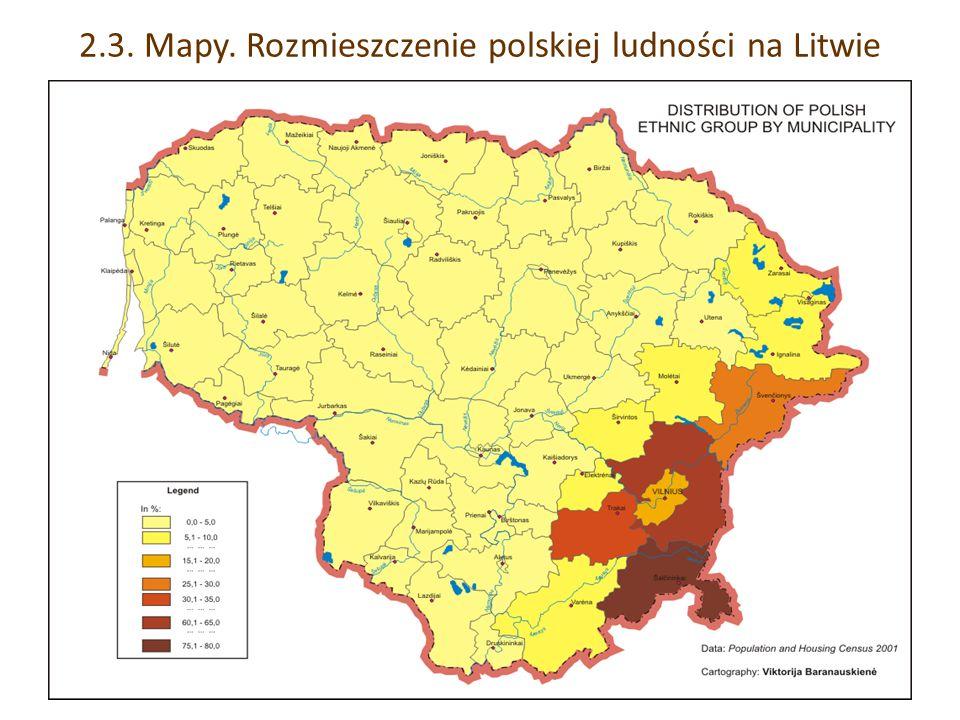 2.3. Mapy. Rozmieszczenie polskiej ludności na Litwie