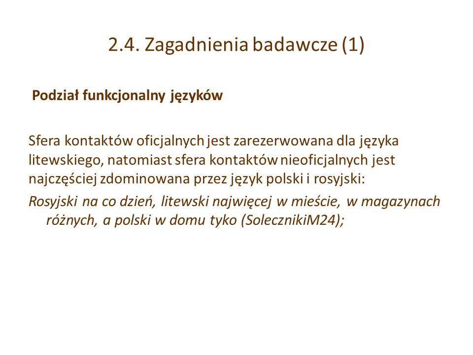 2.4. Zagadnienia badawcze (1) Podział funkcjonalny języków Sfera kontaktów oficjalnych jest zarezerwowana dla języka litewskiego, natomiast sfera kont
