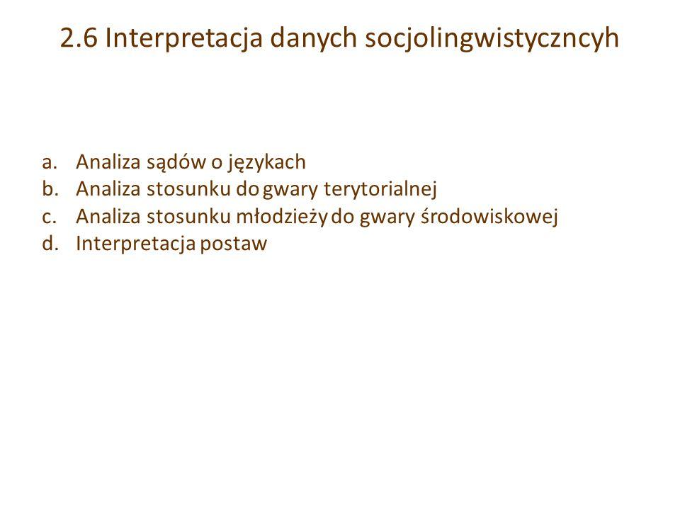 2.6 Interpretacja danych socjolingwistyczncyh a.Analiza sądów o językach b.Analiza stosunku do gwary terytorialnej c.Analiza stosunku młodzieży do gwary środowiskowej d.Interpretacja postaw