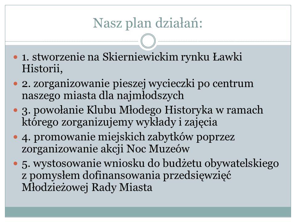 Nasz plan działań: 1.stworzenie na Skierniewickim rynku Ławki Historii, 2.