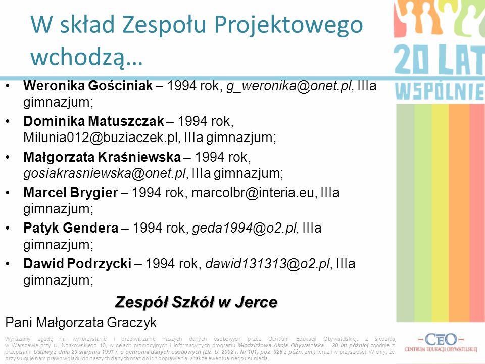 Weronika Gościniak – 1994 rok, g_weronika@onet.pl, IIIa gimnazjum; Dominika Matuszczak – 1994 rok, Milunia012@buziaczek.pl, IIIa gimnazjum; Małgorzata