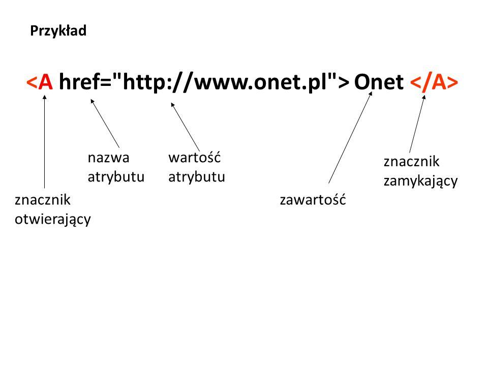 Onet znacznik otwierający nazwa atrybutu zawartość znacznik zamykający wartość atrybutu Przykład