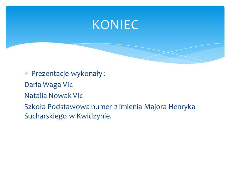  Prezentacje wykonały : Daria Waga VIc Natalia Nowak VIc Szkoła Podstawowa numer 2 imienia Majora Henryka Sucharskiego w Kwidzynie. KONIEC