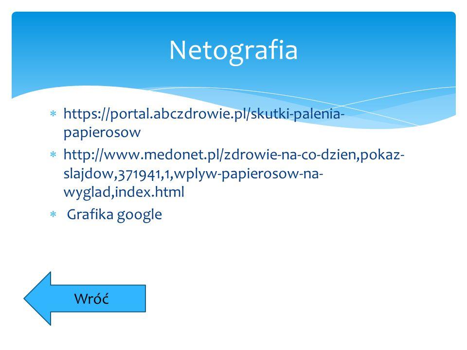  https://portal.abczdrowie.pl/skutki-palenia- papierosow  http://www.medonet.pl/zdrowie-na-co-dzien,pokaz- slajdow,371941,1,wplyw-papierosow-na- wyg
