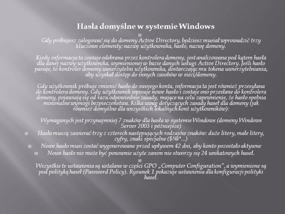Hasła domyślne w systemie Windows  Gdy próbujesz zalogować się do domeny Active Directory, będziesz musiał wprowadzić trzy kluczowe elementy: nazwę u
