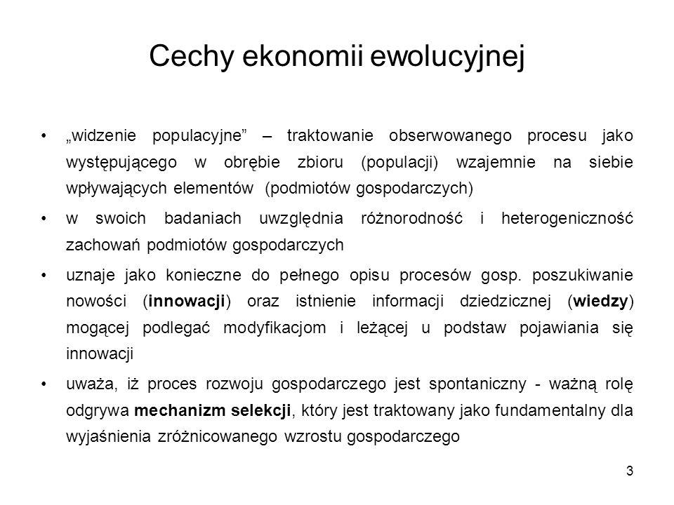 """3 Cechy ekonomii ewolucyjnej """"widzenie populacyjne"""" – traktowanie obserwowanego procesu jako występującego w obrębie zbioru (populacji) wzajemnie na s"""