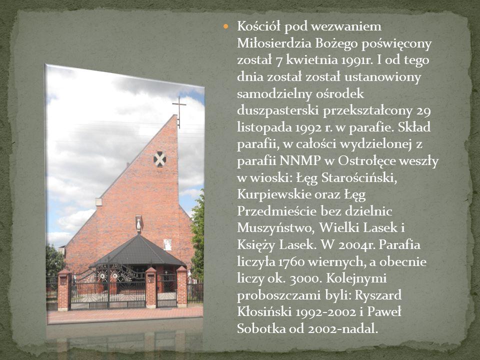 Kościół pod wezwaniem Miłosierdzia Bożego poświęcony został 7 kwietnia 1991r. I od tego dnia został został ustanowiony samodzielny ośrodek duszpasters