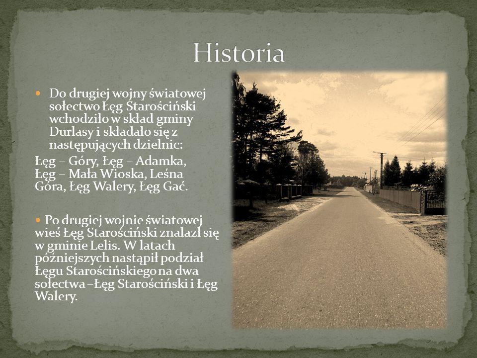 Do drugiej wojny światowej sołectwo Łęg Starościński wchodziło w skład gminy Durlasy i składało się z następujących dzielnic: Łęg – Góry, Łęg – Adamka