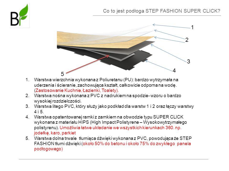 Co to jest podłoga STEP FASHION SUPER CLICK? 1 2 3 4 5 1.Warstwa wierzchnia wykonana z Poliuretanu (PU): bardzo wytrzymała na uderzenia i ścieranie, z