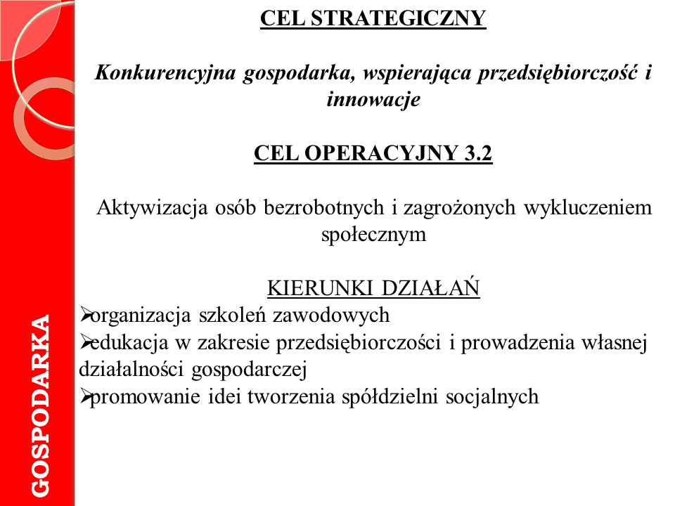 GOSPODARKA CEL STRATEGICZNY Konkurencyjna gospodarka, wspierająca przedsiębiorczość i innowacje CEL OPERACYJNY 3.2 Aktywizacja osób bezrobotnych i zag