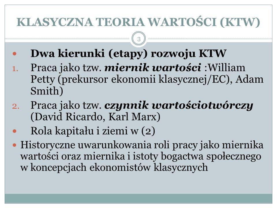 KLASYCZNA TEORIA WARTOŚCI (KTW) Dwa kierunki (etapy) rozwoju KTW 1.