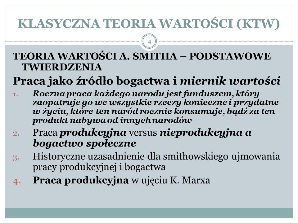 KLASYCZNA TEORIA WARTOŚCI (KTW) TEORIA WARTOŚCI A.